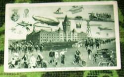 Hajmáskér a jövő században Zeppelin, bicikli, humoros régi képeslap