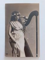 Régi képeslap 1909 hárfás női fotó levelezőlap