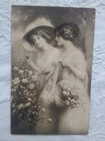 Antik szépia grafikus művészlap/képeslap/üdvözlőlap hölgyek, kalap, rózsa 1914
