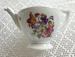 Régi porcelán Schlaggenwald virágos nagy teáskanna kiöntő