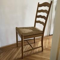 4 elegáns, magas támlájú, fonott ülőfelületű tölgyfa szék