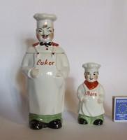 Régi nagyon aranyos figurális porcelán cukortartó és borsszóró, fűszertartó -szakács,kukta figura