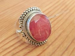 Ezüst gyűrű rubinnal