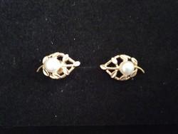 Szép mutatós aranyozott ezüst tenyésztett gyönggyel fülbevaló