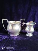 Ezüst 925-ös angol cukortartó és tejszines páros