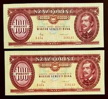 100 forint 1984 sorszámkövető Ropogós Bankjegyek 2db