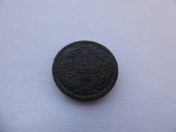 1878-as 1 krajcár, I. Ferenc József, réz pénzérme