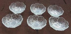 Régi vastagfalu üveg virágkehely fagyis v. kompótos készlet 6 személy részére