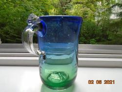 MURANO Dombor csavart rátétes rózsa fogóval vastagfalú súlyos buborékos kék üveg pohár csiszolt talp
