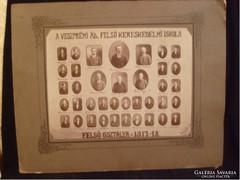 E10 Tablókép 1917-18 Veszprém állami felső kereskedelmi iskola 39x32cm