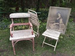 Összecsukható antik vas kerti szék