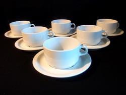 Fehér alföldi porcelán teás készlet 6-6 bögre, csésze és tányér
