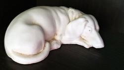 Antik, bisquit, fehér , porcelán kutya.
