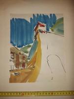 Szignós tus-akvarell festmény, 50x70-es karton-paszpartura, celluxal rögzítve, a '60-as évek végéből