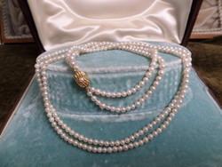 Valódi tenyésztett gyöngysor arany zárral, kétsoros aprószemű, gyönyörű!