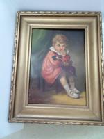 Mesterházy Dénes ülő kislány a babájával a széken.