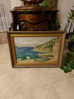 Emőd Aurél Olasz tengerpart olajfestmény!