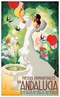 Vintage utazási plakát reprint Andalúzia Spanyolország flamenco táncosnő fehér ruha fecske madarak