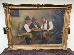 Nagyméretű Mesterházy Dénes olaj festmény, vászon, 69x100 cm, kerettel 117x87 cm