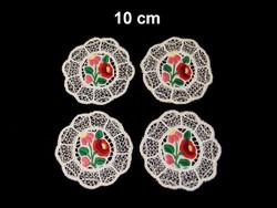 4 db Kalocsai virág mintával kézzel hímzett riselt terítő 10 cm