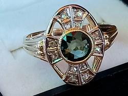 Arany gyűrű, zafír és gyémánt (14k)