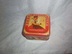 Régi kis hangya szövetkezet mézcukorka fémdoboz pléh doboz
