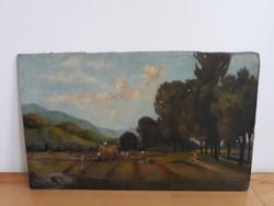 EREDETI  antik festmény-szignózott
