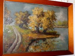 Antik szignált festmény 418