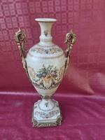 Meisseni váza réz rátétekkel. 45 cm.