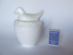 Régebbi tejüveg, opál üveg kacsa figurás fedeles bonbontartó, üveg doboz-húsvéti, tavaszi dekoráció