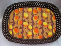 Retro műanyag narancsos tálca