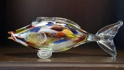 Retró, muránói, cseh vagy ajkai,  fújt üveghal dísz