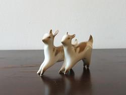 Zsolnay gidák porcelán állat figura pár art deco kecske gida sérült