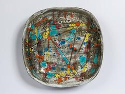 Pál Ferenc absztrakt mintás kerámia tál, falitál 21,5cm