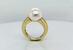 Fehér topáz - gyöngy  drágaköves   sterling ezüst /925/ gyűrű, 14K, 56 méret -  új