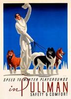 Art deco utazási reklám plakát reprint nyomat 1936 téli sport hó síelés kutya husky malamut szamojéd