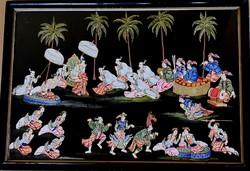 Ritkán látható! Ismeretlen keleti festő – Mulatság című festménye – 199.