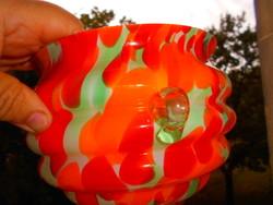 Cseh többrétegű mennyezetre függeszthető  üveg kaspó mely anyagában többszínű-nem festett
