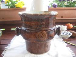 Zsolnay  pirogranit  kaspó vagy pezsgő  hűtő  a hatvanas évekből  Fürtös Gy .terve alapján