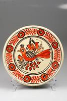 Korondi madaras piros-fehér fali tányér