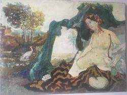 Antik festmény szignózatlan keret nélkül valószínűleg a XIX . századból .
