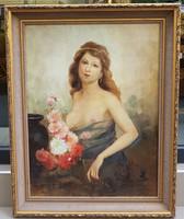 Ism. festő:  Nő virággal