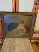 Macska gombolyaggal festmény