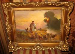GARANTÁLTAN EREDETI BURCHARD BÉLAVÁRY ISTVÁN / 1864-1933/ KÉP :  TERELÉS