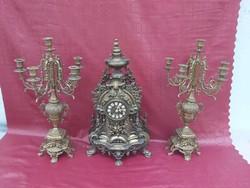 Barokk stílusú kandalló óra szett. 62 cm.