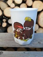 Zsolnay porcelán csésze _ Monchichi / Moncsicsis dekorral az egyik oldalán