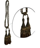 Klasszikus zsinóros kétfejes függönyelkötő – Zöld  arany  szín