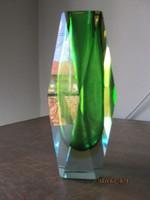 """Muranoi üvegváza """"Sommerso csiszolással"""" nagyon ritka szép zöld színű"""
