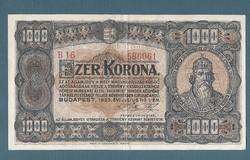 1923 1000  Korona  Magyar Pénzjegynyomda Rt.VF+
