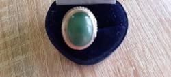 Zöld köves állítható nagyságú ezüst gyűrű + kinyitható